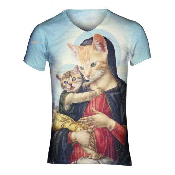 Festivalshirt met de kat versie van maria en jezus, erg heilig