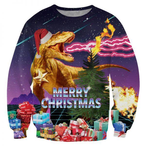 Foute kersttrui met een dinosaurus (t-rex) en cadeautjes