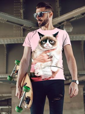 Roze festivalshirt met grumpycat print