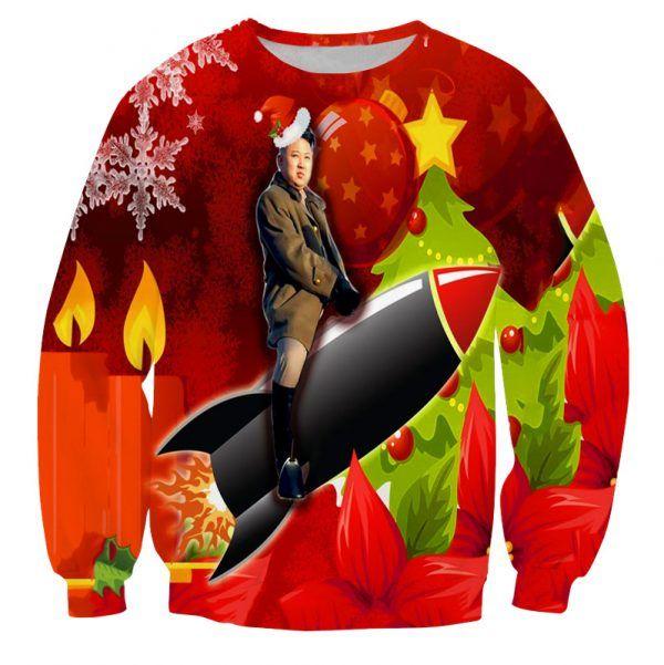 Foute kersttrui met Kim Jong Un op een raket met kerst achtergrond