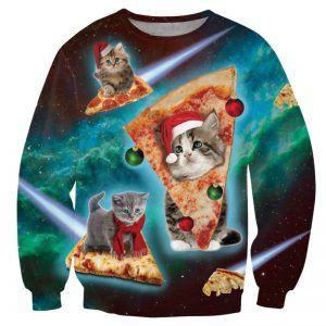 Kersttrui met pizza poezen en galaxy print. Erg fout!