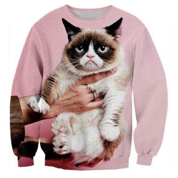 Roze grumpycat sweater
