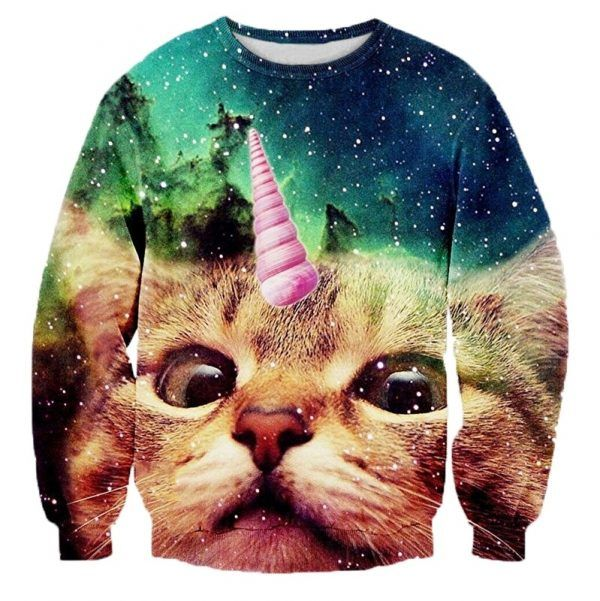 foute trui met kat die een schelp of ijsje op zijn hoofd heeft