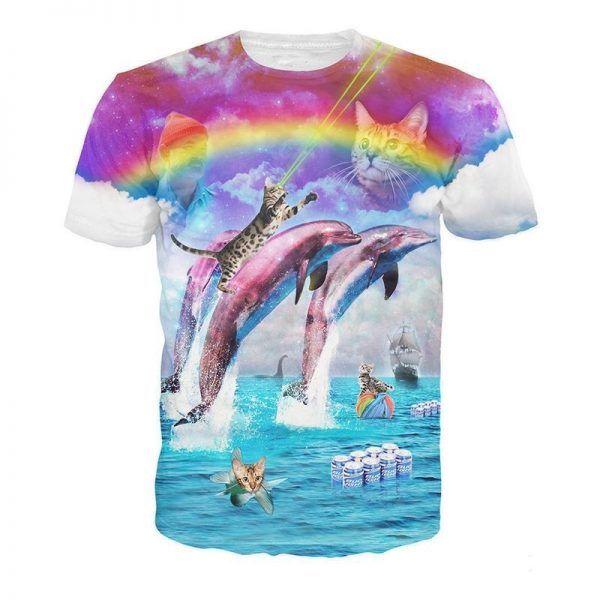 festivalshirt met katten op dolfijnen met een regenboog er achter