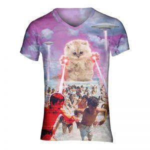 Festival shirt met een kat in plaats van godzilla