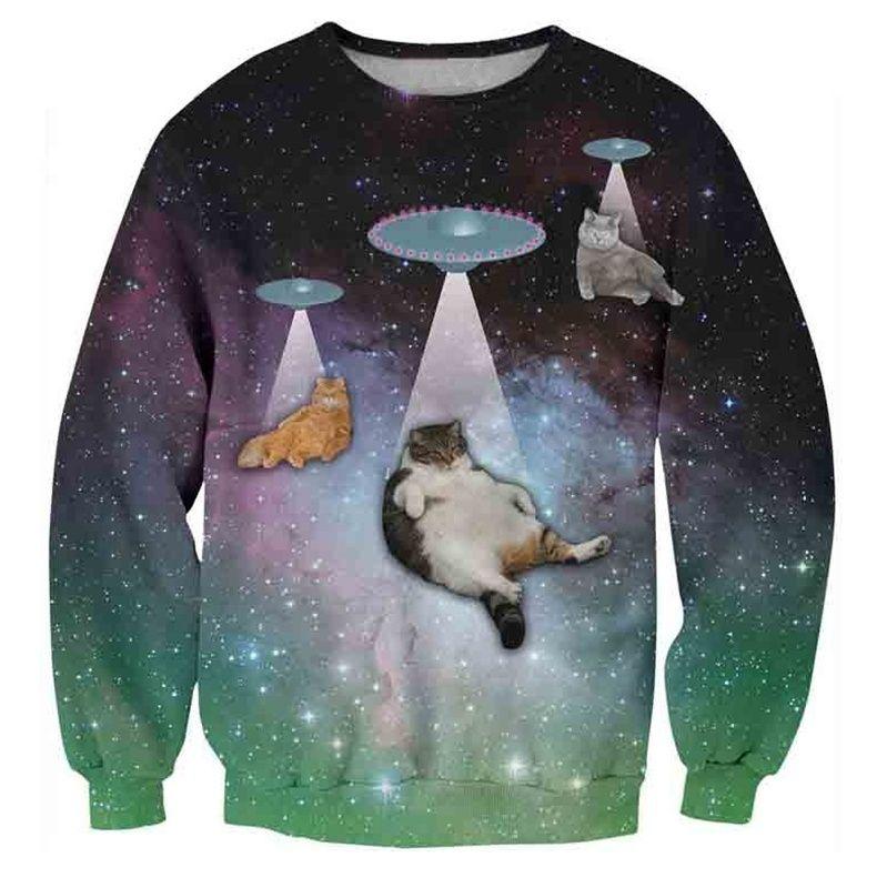 Katten met UFO's trui - M
