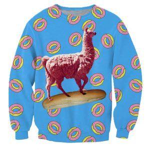 foute trui met een lama donuts en een stokbrood heb jij al honger?