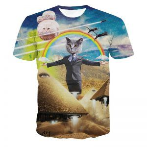 kattenshirt met illuminatie thema en piramides