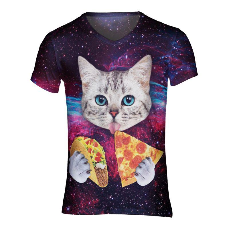 Pizza en taco kat tshirt - V-hals, XL