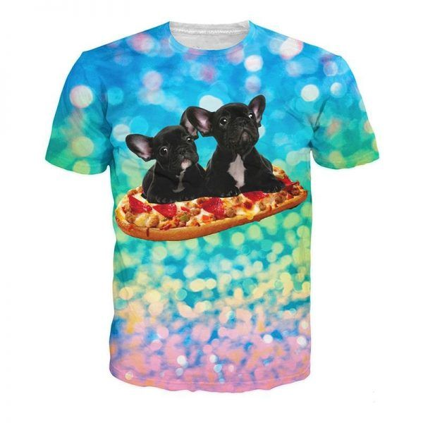 shirt met hondjes franse bulldog op pizza