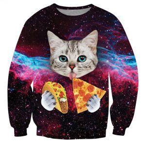 foute trui met kat die pizza eet en een taco heeft.