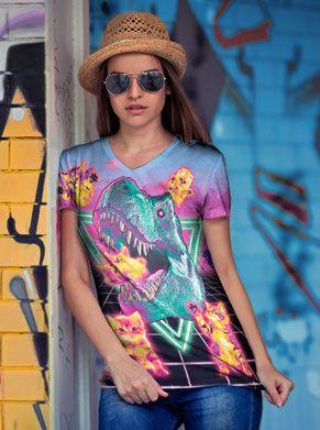 Festival shirt met een T-rex en een zooi kittens. voor iedereen die van foute kleding houd