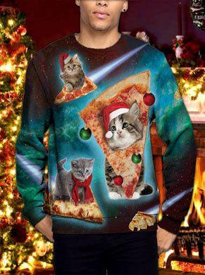 foute kersttrui met pizza en katten, ideaal cadeau voor tijdens de feestdagen