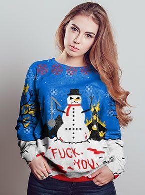 foute kersttrui met sneeupop anti kerst kersttrui