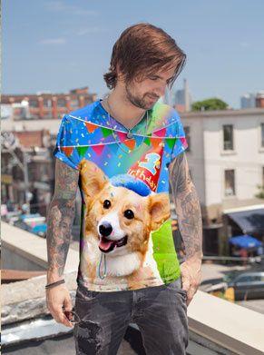 shirt voor iedereen die een verjaardag heeft en een lekker fout shirt wil met een corgi erop. foute verjaardagshirts zijn tof