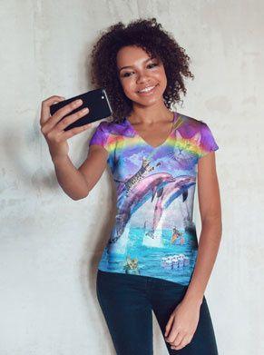 shirt met katten en dolfijnen en regenbogen