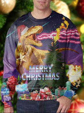 foute kersttrui met een dinosaurus (t-rex) en cadeautjes en merry christmas op de voorkant. erg retro deze jaren 80 look
