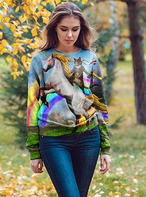 foute trui met een kat en een regenboog en een eenhoorn
