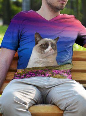grumpycat op een heuvel festivalshirt