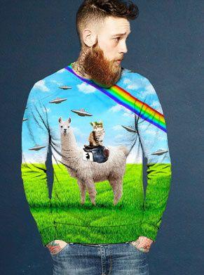 Lama met kat op de rug foute trui regenboog ufos