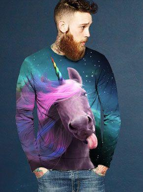 Foute trui met eenhoorn in regenboog kleuren die je likt