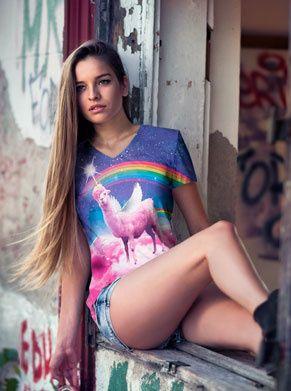 Swag lama shirt voor vrouwen in vhals foute kleding festivalshirt festival kleding