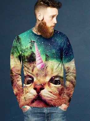 foute trui kat met een hoortje of ijsje op zijn hoofd, ook wel unicorn cat genoemd als foute kleding