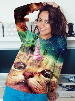 unciorn cat foute trui voor vrouwen festival kleding