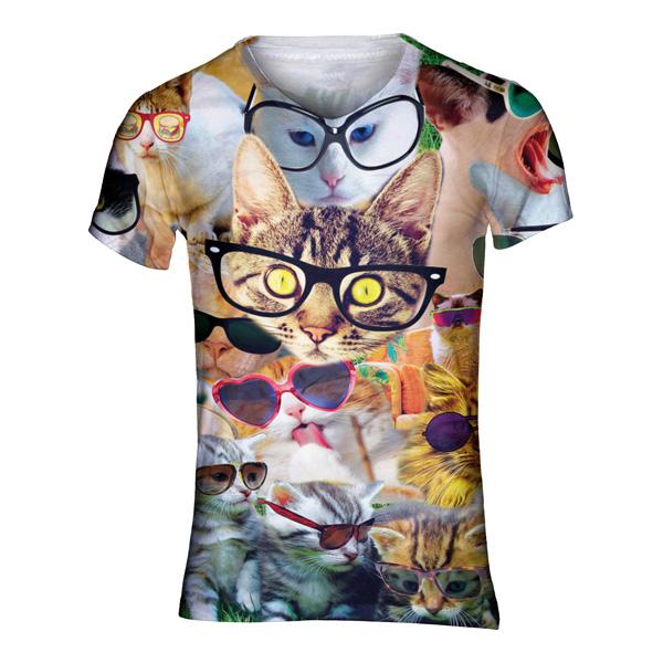 Katten met brillen festivalshirt - V-hals, M